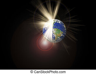 Cracked earth and light beam and disastrous Concept - ...