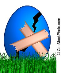 cracked easter egg with band aid