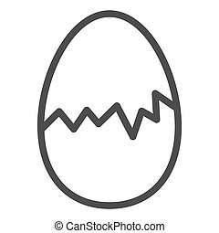 Cracked egg line icon. Hatch the chicken outline style pictogram on white background. Happy Easter traditional broken egg gift for mobile concept and web design. Vector graphics.