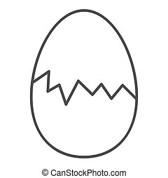 Cracked egg thin line icon. Hatch the chicken outline style pictogram on white background. Happy Easter traditional broken egg gift for mobile concept and web design. Vector graphics.