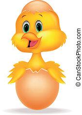 Cracked egg with cute bird cartoon