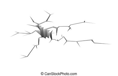 Cracked ground - Conceptual image. Isolated on white