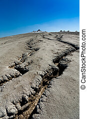 Cracked ground from muddy volcanoes in Romania