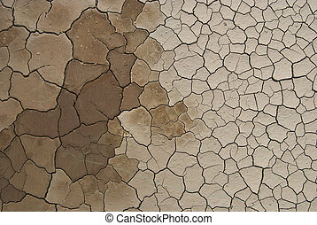 cracked ground sludge produced by the drying