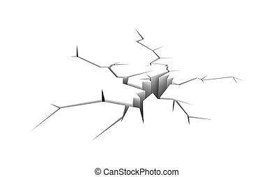Cracked ground. Isolated on white