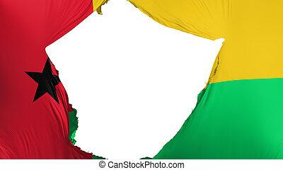 Cracked Guinea Bissau flag, white background, 3d rendering