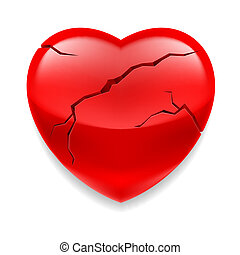 Shiny red cracked heart on white background