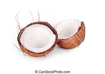 Cracked in half coconut isolated on white background. Halved fresh raw coconut.