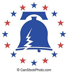Cracked Liberty Bell Stars - An image of a cracked libery...