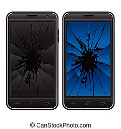 cracked mobile phone - Cracked mobile phone on a white...