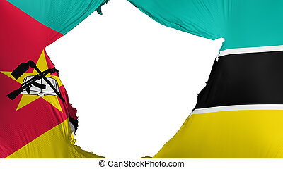 Cracked Mozambique flag, white background, 3d rendering