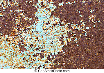 rusty metal - cracked paint on rusty metal surface, abstract...