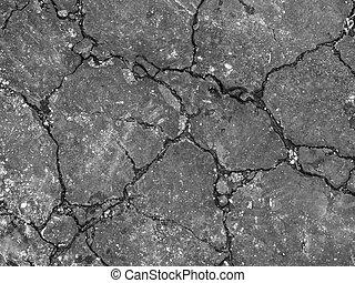 Cracked pavement or asphalt
