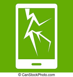 Cracked phone icon green