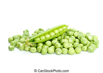 Cracked pod over pile of green peas isolated on the white background