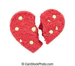 Cracked red heart cookie isolated on white background