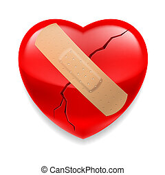 Cracked red heart  with plaster