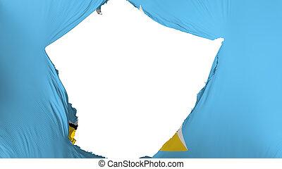 Cracked Saint Lucia flag, white background, 3d rendering