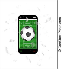 cracked screen smartphone with a football field and soccer football