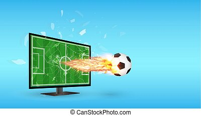 Cracked Screen Television with Football and fire over screen
