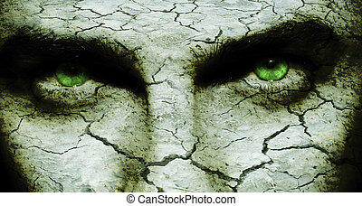 Cracked skin - Cracked and dry skin on a man`s face, with...