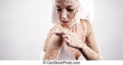 Cracked skin treatment. Cosmetic concept