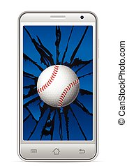 cracked smart phone baseball
