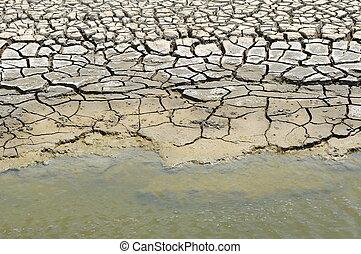 Cracked soil in water.