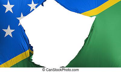 Cracked Solomon Islands flag, white background, 3d rendering