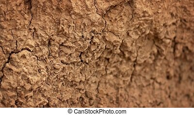 Soil surface, parched and cracked by the dry, summer sun, slowly shifting out of focus. 4k UltraHD footage