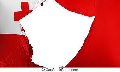 Cracked Tonga flag, white background, 3d rendering