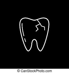 Cracked tooth line icon
