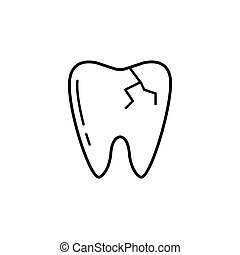 Cracked tooth line icon,