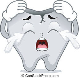 Mascot Illustration Featuring a Cracked Tooth Crying in Pain