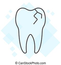 Cracked tooth thin line icon, stomatology and dental, broken tooth sign vector graphics, a linear pattern on a white background, eps 10.