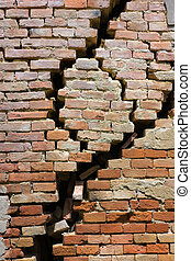 cracked wall - wall of house destroyed during earthquake - ...