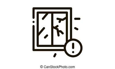 cracked window because of ertnquake Icon Animation