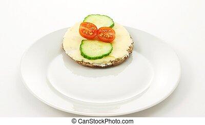 Cracker bread on plate
