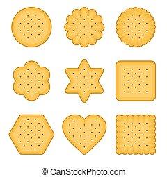 Cracker Chips Set on White Background. Vector