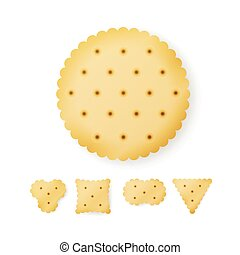 Cracker In Different Shapes. Yellow Cookie Vector. - Cracker...