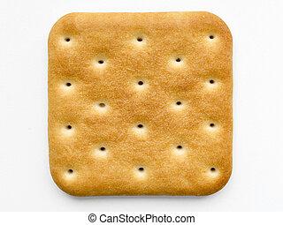 cracker isolated - single square cracker isolated on white...