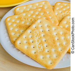 Cracker on white dish