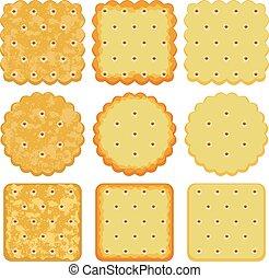 cracker, set, vettore, patatine fritte