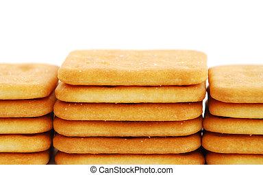 Stacks of cracker isolated on white background
