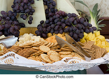 Cracker Tray with Cheese and Grapes