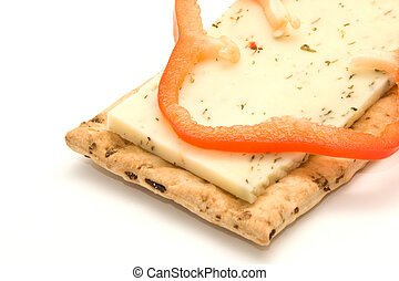 cracker with cheese and pepper