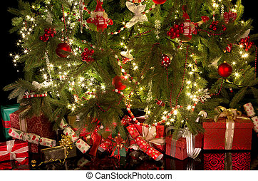 Crackers and gifts under the christmas tree