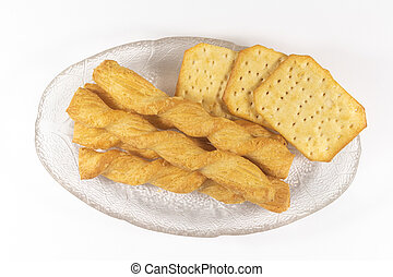 Crackers and snacks on a dish