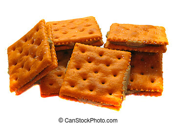 Crackers - Cheese and Peanut Butter crackers isolated on...