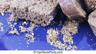 Crackers from rye bread - Pile of brown rye crackers